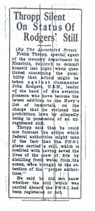Thropp Silent on Status of Rodgers' Still, 9-14-1925